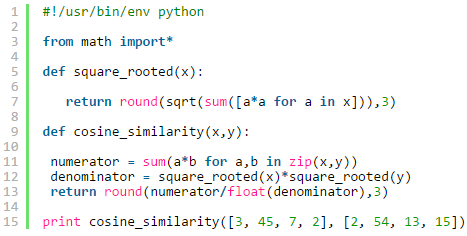 cosine similarity implementation in python