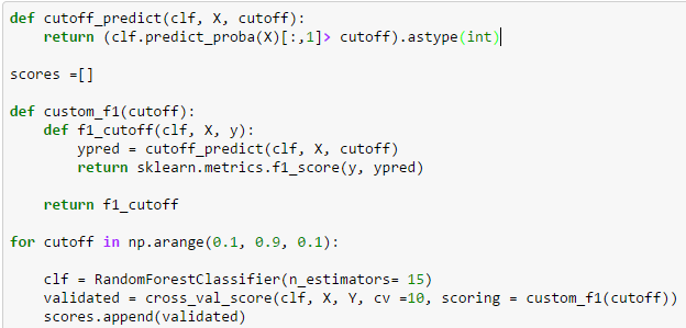 cut off prediction in python