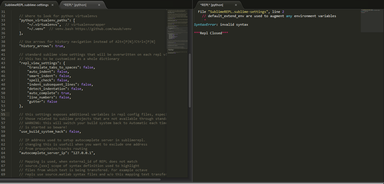 two panel view in sublime text
